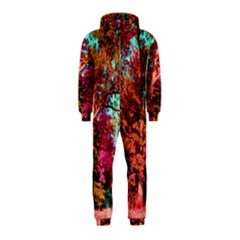 Abstract Fall Trees Saturated With Orange Pink And Turquoise Hooded Jumpsuit (kids)