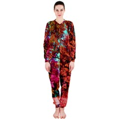 Abstract Fall Trees Saturated With Orange Pink And Turquoise Onepiece Jumpsuit (ladies)