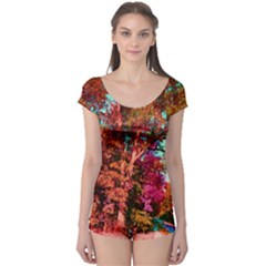 Abstract Fall Trees Saturated With Orange Pink And Turquoise Boyleg Leotard