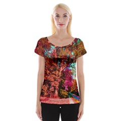 Abstract Fall Trees Saturated With Orange Pink And Turquoise Women s Cap Sleeve Top