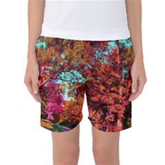 Abstract Fall Trees Saturated With Orange Pink And Turquoise Women s Basketball Shorts