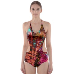 Abstract Fall Trees Saturated With Orange Pink And Turquoise Cut-Out One Piece Swimsuit