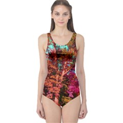Abstract Fall Trees Saturated With Orange Pink And Turquoise One Piece Swimsuit
