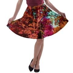 Abstract Fall Trees Saturated With Orange Pink And Turquoise A Line Skater Skirt