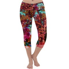 Abstract Fall Trees Saturated With Orange Pink And Turquoise Capri Yoga Leggings