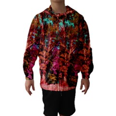 Abstract Fall Trees Saturated With Orange Pink And Turquoise Hooded Wind Breaker (Kids)