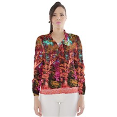 Abstract Fall Trees Saturated With Orange Pink And Turquoise Wind Breaker (Women)