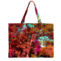 Abstract Fall Trees Saturated With Orange Pink And Turquoise Large Tote Bag