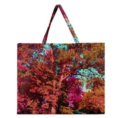Abstract Fall Trees Saturated With Orange Pink And Turquoise Zipper Large Tote Bag