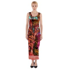 Abstract Fall Trees Saturated With Orange Pink And Turquoise Fitted Maxi Dress