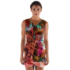 Abstract Fall Trees Saturated With Orange Pink And Turquoise Wrap Front Bodycon Dress