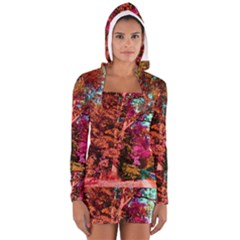 Abstract Fall Trees Saturated With Orange Pink And Turquoise Women s Long Sleeve Hooded T Shirt