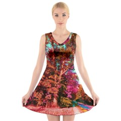 Abstract Fall Trees Saturated With Orange Pink And Turquoise V Neck Sleeveless Skater Dress
