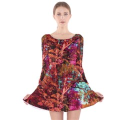 Abstract Fall Trees Saturated With Orange Pink And Turquoise Long Sleeve Velvet Skater Dress