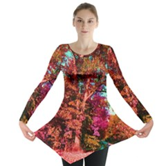 Abstract Fall Trees Saturated With Orange Pink And Turquoise Long Sleeve Tunic
