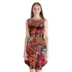 Abstract Fall Trees Saturated With Orange Pink And Turquoise Sleeveless Chiffon Dress