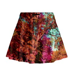 Abstract Fall Trees Saturated With Orange Pink And Turquoise Mini Flare Skirt