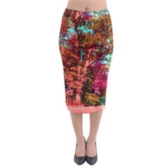 Abstract Fall Trees Saturated With Orange Pink And Turquoise Midi Pencil Skirt
