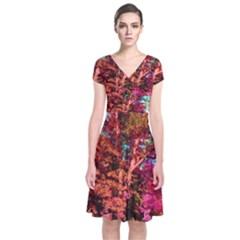 Abstract Fall Trees Saturated With Orange Pink And Turquoise Short Sleeve Front Wrap Dress
