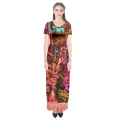 Abstract Fall Trees Saturated With Orange Pink And Turquoise Short Sleeve Maxi Dress