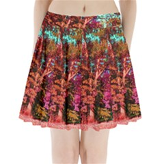 Abstract Fall Trees Saturated With Orange Pink And Turquoise Pleated Mini Skirt