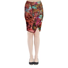 Abstract Fall Trees Saturated With Orange Pink And Turquoise Midi Wrap Pencil Skirt