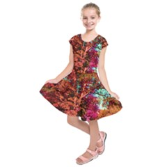 Abstract Fall Trees Saturated With Orange Pink And Turquoise Kids  Short Sleeve Dress