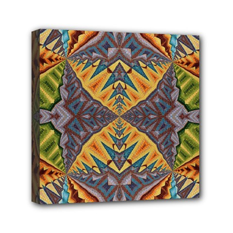 Kaleidoscopic Pattern Colorful Kaleidoscopic Pattern With Fabric Texture Mini Canvas 6  X 6