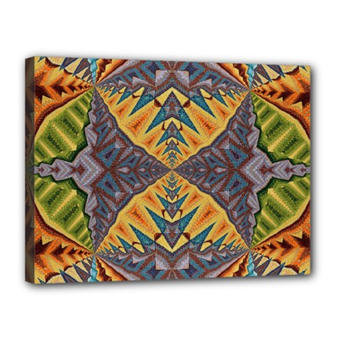 Kaleidoscopic Pattern Colorful Kaleidoscopic Pattern With Fabric Texture Canvas 16  X 12
