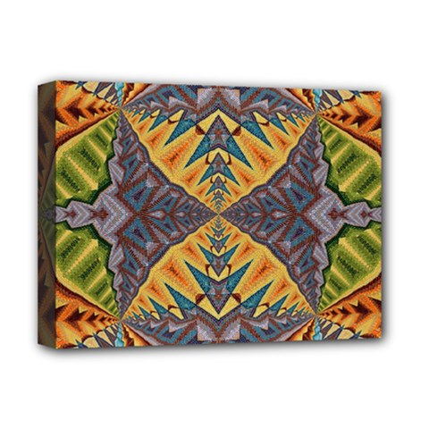 Kaleidoscopic Pattern Colorful Kaleidoscopic Pattern With Fabric Texture Deluxe Canvas 16  x 12
