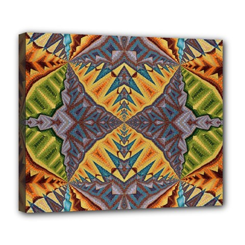 Kaleidoscopic Pattern Colorful Kaleidoscopic Pattern With Fabric Texture Deluxe Canvas 24  X 20
