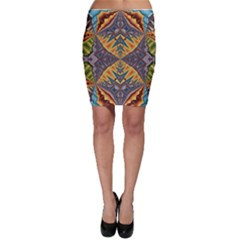 Kaleidoscopic Pattern Colorful Kaleidoscopic Pattern With Fabric Texture Bodycon Skirt