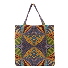 Kaleidoscopic Pattern Colorful Kaleidoscopic Pattern With Fabric Texture Grocery Tote Bag