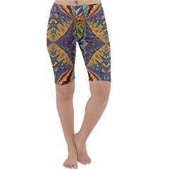 Kaleidoscopic Pattern Colorful Kaleidoscopic Pattern With Fabric Texture Cropped Leggings