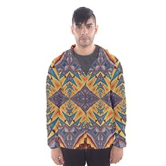 Kaleidoscopic Pattern Colorful Kaleidoscopic Pattern With Fabric Texture Hooded Wind Breaker (Men)