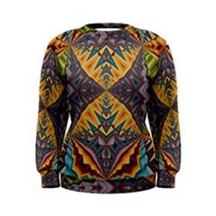 Kaleidoscopic Pattern Colorful Kaleidoscopic Pattern With Fabric Texture Women s Sweatshirt