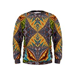 Kaleidoscopic Pattern Colorful Kaleidoscopic Pattern With Fabric Texture Kids  Sweatshirt