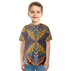 Kaleidoscopic Pattern Colorful Kaleidoscopic Pattern With Fabric Texture Kids  Sport Mesh Tee