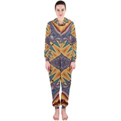 Kaleidoscopic Pattern Colorful Kaleidoscopic Pattern With Fabric Texture Hooded Jumpsuit (Ladies)