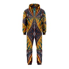 Kaleidoscopic Pattern Colorful Kaleidoscopic Pattern With Fabric Texture Hooded Jumpsuit (Kids)