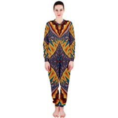 Kaleidoscopic Pattern Colorful Kaleidoscopic Pattern With Fabric Texture Onepiece Jumpsuit (ladies)