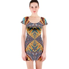 Kaleidoscopic Pattern Colorful Kaleidoscopic Pattern With Fabric Texture Short Sleeve Bodycon Dress