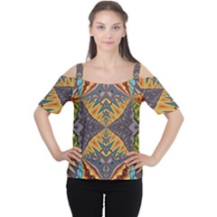 Kaleidoscopic Pattern Colorful Kaleidoscopic Pattern With Fabric Texture Women s Cutout Shoulder Tee