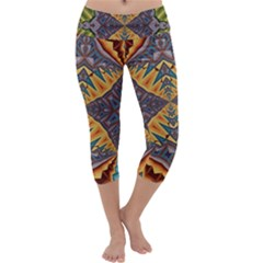 Kaleidoscopic Pattern Colorful Kaleidoscopic Pattern With Fabric Texture Capri Yoga Leggings