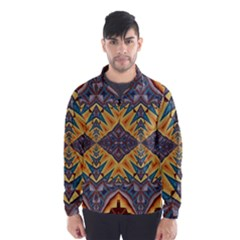 Kaleidoscopic Pattern Colorful Kaleidoscopic Pattern With Fabric Texture Wind Breaker (Men)