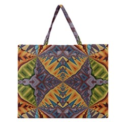 Kaleidoscopic Pattern Colorful Kaleidoscopic Pattern With Fabric Texture Zipper Large Tote Bag