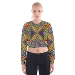 Kaleidoscopic Pattern Colorful Kaleidoscopic Pattern With Fabric Texture Cropped Sweatshirt