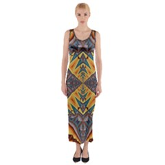 Kaleidoscopic Pattern Colorful Kaleidoscopic Pattern With Fabric Texture Fitted Maxi Dress
