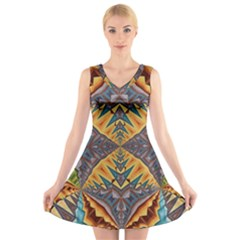 Kaleidoscopic Pattern Colorful Kaleidoscopic Pattern With Fabric Texture V Neck Sleeveless Skater Dress