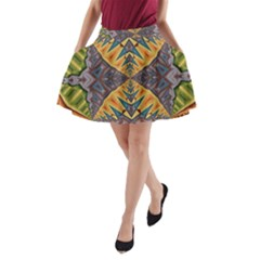 Kaleidoscopic Pattern Colorful Kaleidoscopic Pattern With Fabric Texture A-Line Pocket Skirt